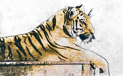 Digitale tekening van een tijger