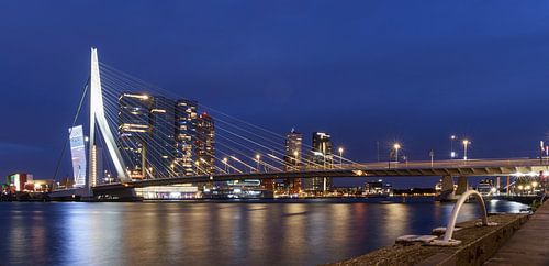 Avond skyline van Rotterdam