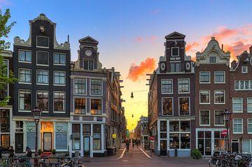 Singel sunset Amsterdam van Dennis van de Water