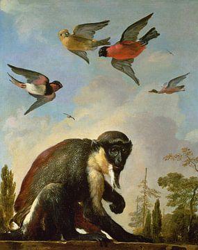 Angeketteter Affe in einer Landschaft, Melchior d'Hondecoeter
