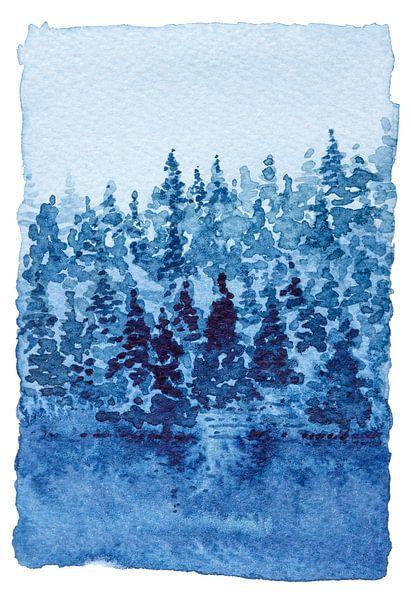 Aan de rand van het Naaldbos | Aquarel schilderij van WatercolorWall
