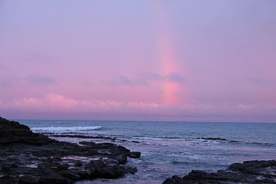 Regenboog tijdens zonsondergang bij Curio Bay in Nieuw Zeeland
