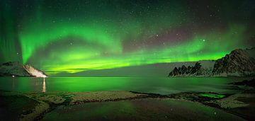 Panorama of aurora over Tugeneset van Wojciech Kruczynski