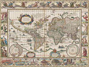 Wereldkaart met decoratieve randen, Jan Aertse van den Ende