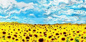 Gele Zonnebloemen veld met prachtige lucht