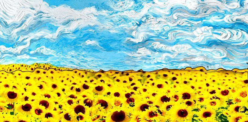 Gele Zonnebloemen veld met prachtige lucht van Nicole Roozendaal