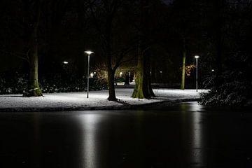 Besneeuwd Wilhelminapark in Utrecht van Donker Utrecht