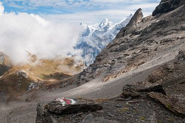 Jungfraumassief in de wolken sur John Faber
