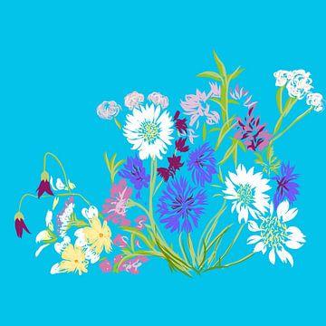 bloemen met blauwe achtergrond van Joke te Grotenhuis