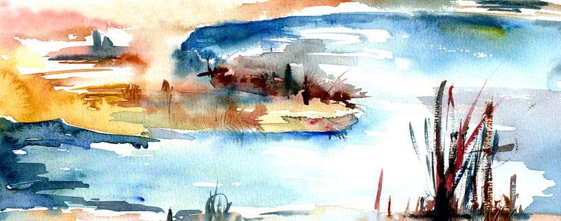 Gräser am See von Claudia Gründler