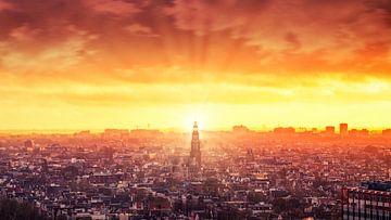Coucher de soleil sur Amsterdam pris au belvédère d'Amsterdam sur Bart Ros