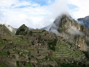 Machu Picchu in de wolken von