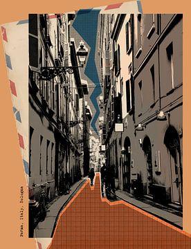 retro ansichtkaart van Parma, Italië van Ariadna de Raadt