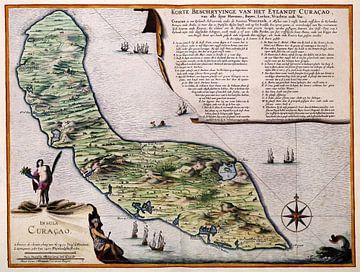 Oude kaart van Curacao van Atelier Liesjes