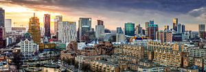 Skyline city centre Rotterdam sunset
