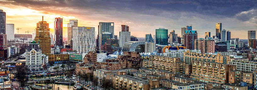 Skyline City Rotterdam Sonnenuntergang von Midi010 Fotografie