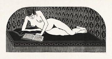 Nu couché, lisant un livre, Samuel Jessurun de Mesquita (1913) sur Atelier Liesjes