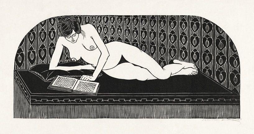 Liegender Akt, ein Buch lesend, Samuel Jessurun de Mesquita (1913) von Atelier Liesjes