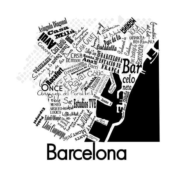 Plattegrond city centre van Barcelona in woorden van Muurbabbels Typographic Design