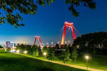 Le Willemsbrug à Rotterdam en soirée sur Pieter van Dieren (pidi.photo)