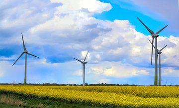 Windpark achter een bloeiend verkrachtingsveld van MPfoto71