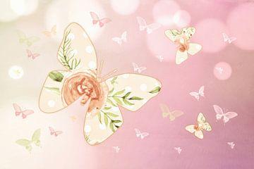 Schmetterlinge Rose Quartz van Dagmar Marina