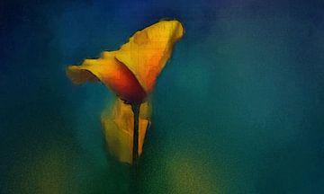 Stilleven met bloem. van Yolanda Bruggeman