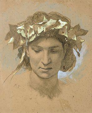 Anselm Feuerbach~Weiblicher Kopf, gekrönt mit Efeu Studie für das Gemälde Platon 8217s Bankett (1