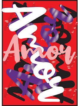 abstracte amor kunstwerk rood van Gerrit Neuteboom