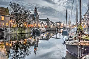 Schemering in Delfshaven, Rotterdam van Frans Blok