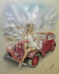 Meisje en klassieke auto - Vintage van