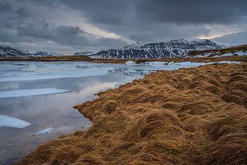 De ruigheid van IJsland. Het meer bij de berg Kirkjufell en uitkijkend naar de bergen aan de andere  van Anges van der Logt