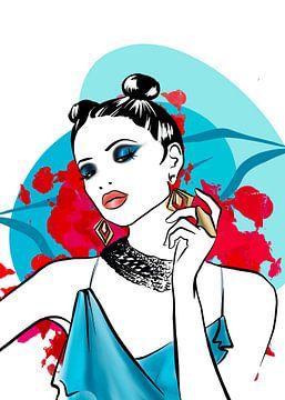 Illustration de la mode du feu et de la glace sur Janin F. Fashionillustrations
