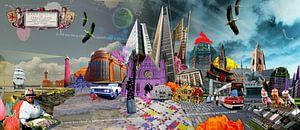 Collage skyline Scheveningen tot Den Haag  van