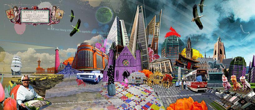Collage skyline Scheveningen tot Den Haag  van Herman van Belkom