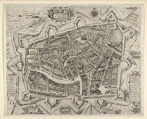 Oude kaart van Leeuwarden van omstreeks 1622