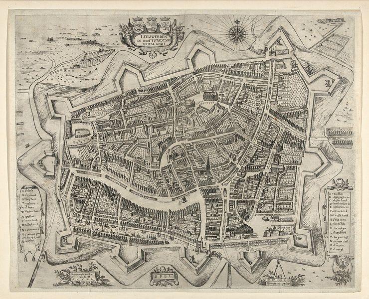 Oude kaart van Leeuwarden van omstreeks 1622 van Gert Hilbink