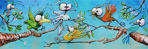 Vrolijke Paradijs Vogels Acryl schilderij van Lineke Lijn