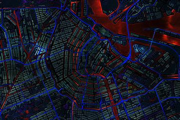 Kaart van Amsterdam metallic