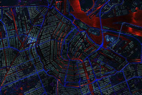 Kaart van Amsterdam metallic van