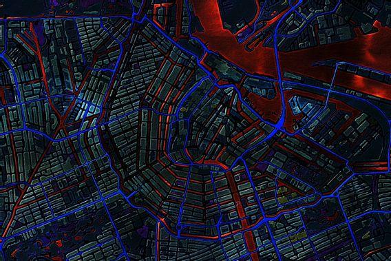Kaart van Amsterdam metallic van Stef Verdonk