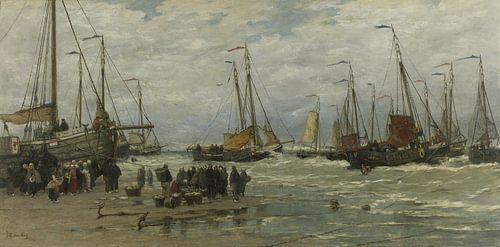 Pinken in de branding van Hendrik Willem Mesdag van