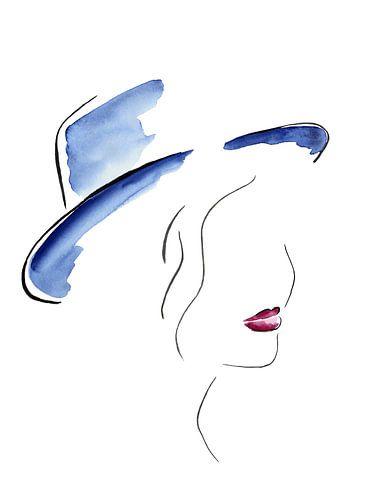 Dame met de blauwe hoed