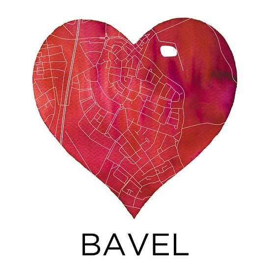 Liefde voor Bavel  |  Stadskaart in een hart van - Wereldkaarten.shop -