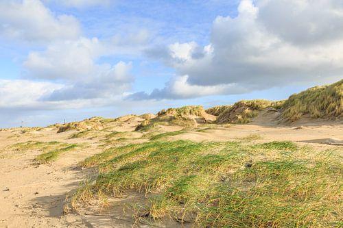 Duinen en strand met diepe door storm ontstane gaten  en stuifzanden van Henk van den Brink