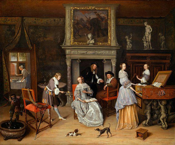 Fantasy Interior mit Jan Steen und der Familie von Gerrit Schouten, Jan Steen von Meesterlijcke Meesters