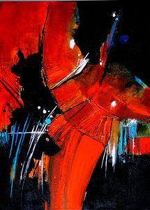 Feuriges Orange-Rot auf Schwarz von Claudia Neubauer