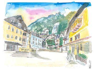 Hallstatt romantischer Marktplatz mit Berg und Wasserfall in Österreich von Markus Bleichner