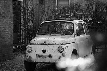 altes Auto (Renovierer) im Garten Fiat Schwarz-Weiß-Foto von Marion Hesseling