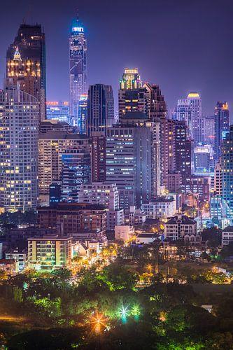 Downtown Bangkok by night van